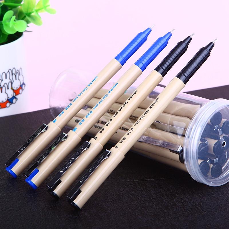 Winning 539 Black/Blue Refills 0.38mm Finance Gel Pen 12pcs/lot Hot Needle Tip Unisex Pens Office Material School Supplies
