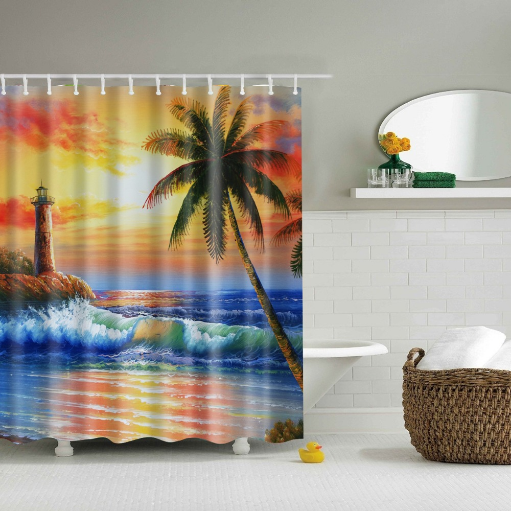 Dark knight shower curtain - Beach Shower Curtains Bathroom Curtain Sun Rise Printed Coconut Tree Curtain For Bathroom 2017