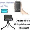 M6 Плюс 200 ANSI Ручной Мини СВЕТОДИОДНЫЙ Проектор Android 4.4 Wi-Fi Bluetooth Смарт DLP 1080 P Главная Проектор Поддержка AirPlay Miracast AC3