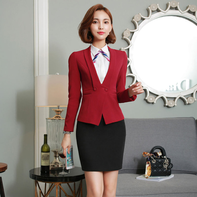 Novelty Red Formal OL Styles Professional Business Suits Autumn Winter Long Sleeve With Jackets And Skirt Career Skirt Suits