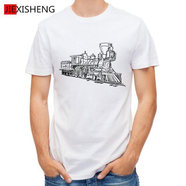 Cute Funny Sketch Train Printed T Shirt Men Short Sleeve t shirts ...