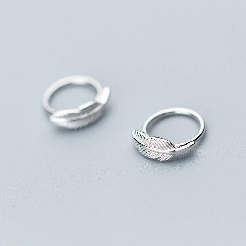 Women Elegant Solid 925 Sterling Silver Ginkgo Leaf Ear Cuff Clip On Earrings