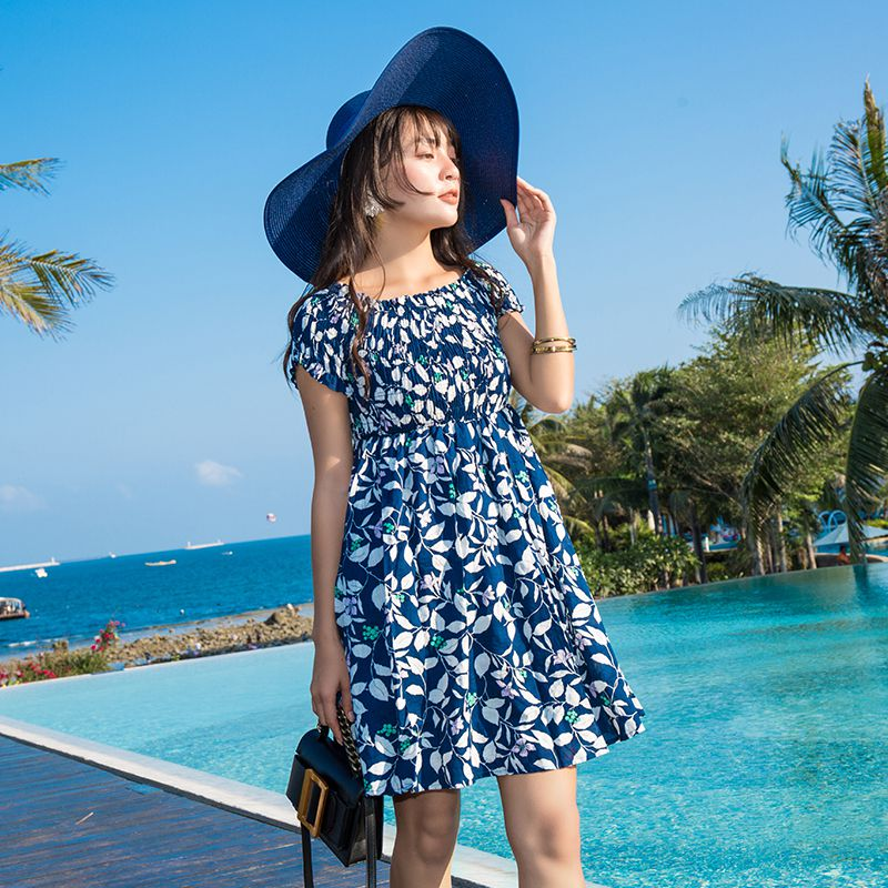 New Summer Women dress Print Short Sleeve Slim In Long Word Shoulders Leak Dresses White Dark Blue 8145
