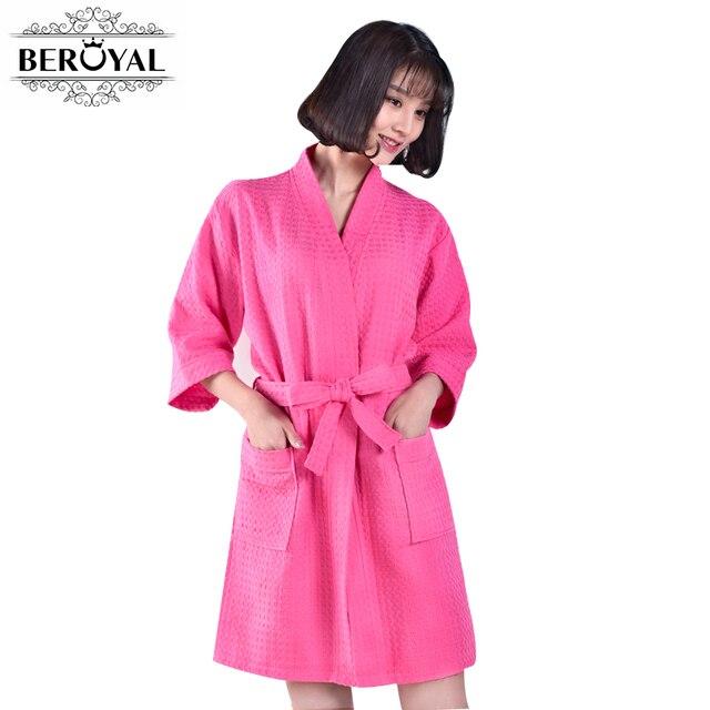 9e84359982 Beroyal Brand Waffle Bathrobe - Cotton Bath Robe Unisex Solid Dressing Gown  Spa Bathrobe Pajamas Soft Nightgown Sleepwear