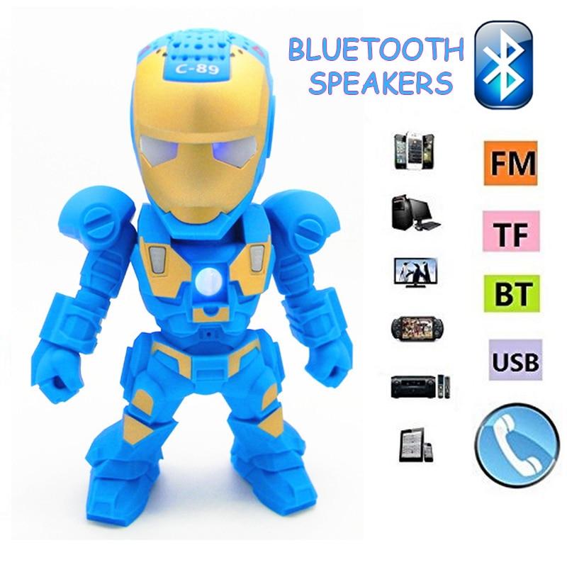 2018 Bluetooth Speaker Iron Man with LED Flash Light Deformed Arm Figure Robot Portable Mini Wireless Subwoofers TF FM USB Card
