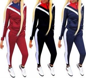 Image 4 - Kadın spor Casual uzun kollu spor giyim sonbahar eşofman kadın Yoga seti spor giyim fermuar spor giyim mujer