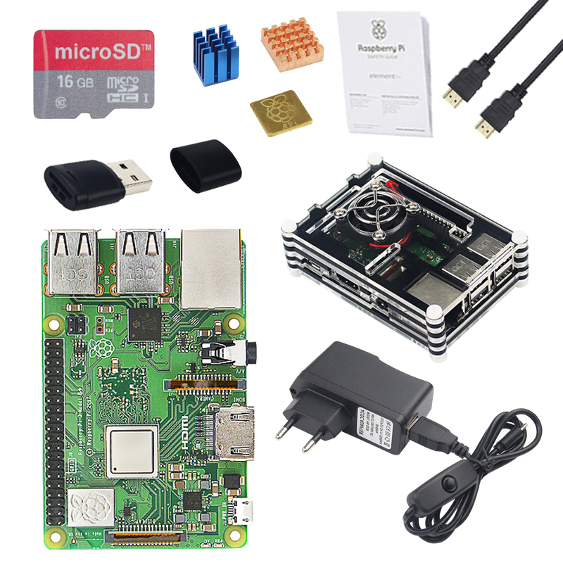 Raspberry Pi 3 Model B+ ( B Plus ) Starter kit+Case+2.5 A Power+16G SD Card+HDMI Cable+Heat Sink for Raspberry Pi 3 Model B Plus pi cobbler plus kit breakout cable gpio 40pin cable for raspberry pi model b plus raspberry pi model b 20cm