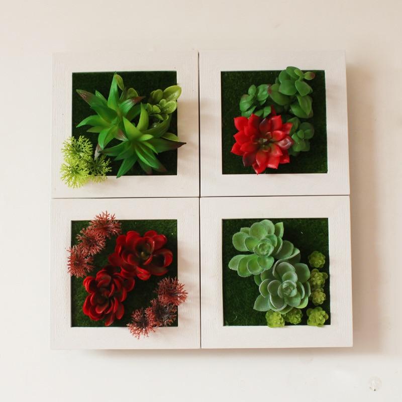 3D Criativo Metope Planta Suculenta Imitação De Madeira Photo Frame Flores Artificiais Adesivos de Parede Decoração de Decoração Para Casa Acessórios