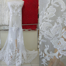 5yards off white fashionable heavy beaded African French Lace Fabric with High Quality Tulle embroidery