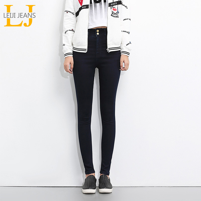 LEIJIJEANS 2018 Plus Size jeans women Black jeans High Waist Denim women pants high elastic Skinny Pencil Stretch Women Jeans 4