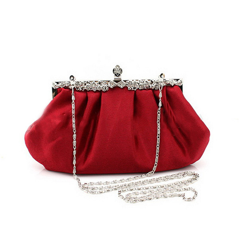 Fashion Design Long Full Dress Solid Color Red Evening Bags Women Wedding Clutches Purses ...