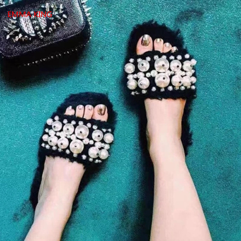 Femmes Dames Plates Pantoufles D'été Plein Picture Picture Fourrure Perle as De In Shown Diapositives As 2018 Accueil Nouvelle D'hiver Chaussures En Mode Air Moelleux IqCTZTw