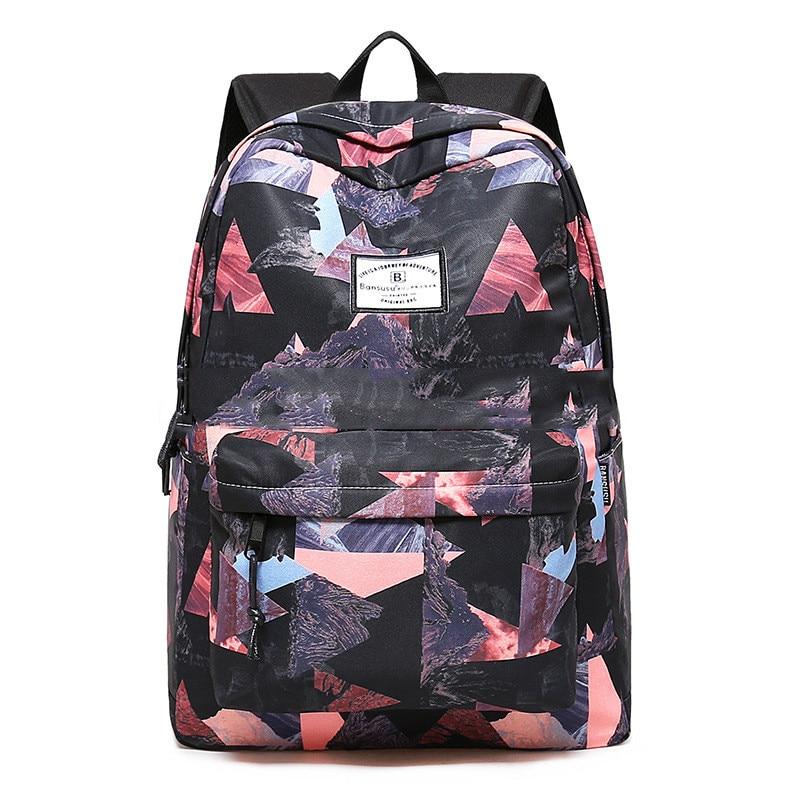 Women Backpacks For Teenage Girls Geometric Printed School Bags Travel Leisure Laptop Backpack Female nylon Backpacks new fashion black women bag backpacks for teenage girls waterproof nylon colleage bags ladies zipper travel backpacks