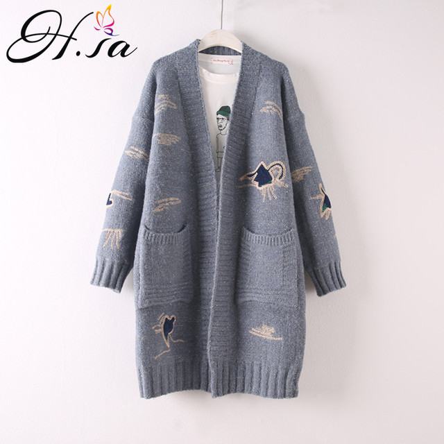 e14f589f2da HSA 2018 Autumn Winter Long Sweater Cardigans V neck Casual Maxi Embroidery  Cute Cardigans Winter Warm Thick Sweater Coat