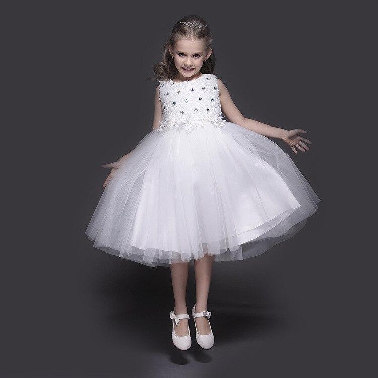 2016 New Pattern Girl Princess White Full Dress Lace Book Drill Foreign Trade Flower Girl Dress Pure Cotton одежда для сна kai book girl dress sleepsong