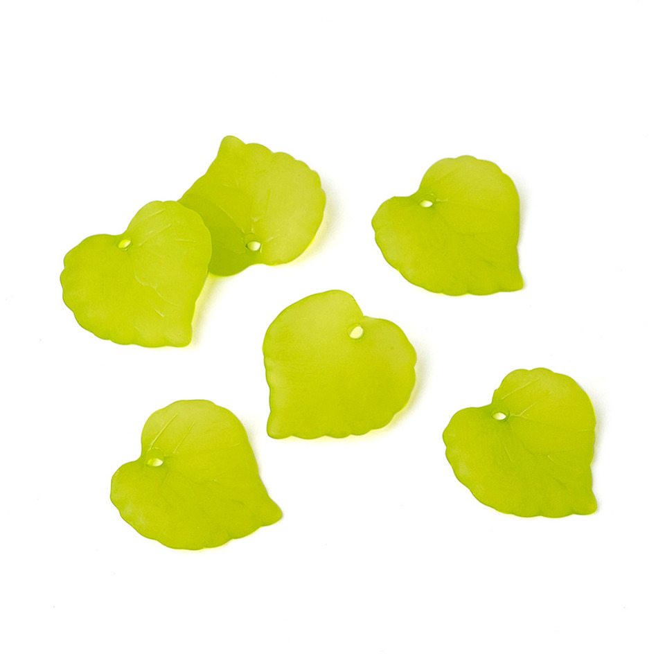 Yellow Frosted Leaf Pendants Yellow Plastic Charms 16mm 14 Pendants