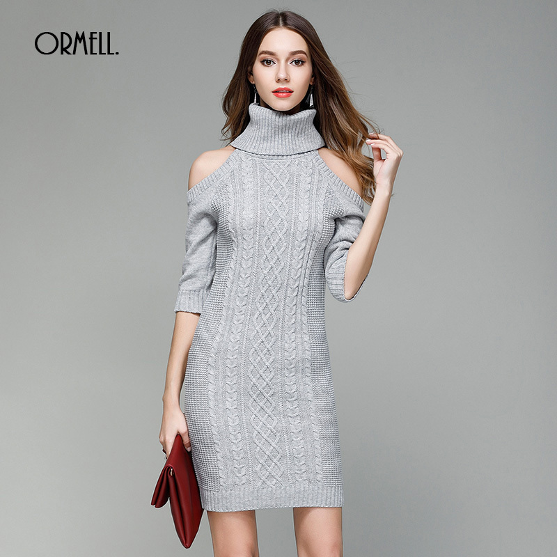ORMELL Fashion Sexy Off Shoulder Knitted Women Dress Autumn Winter Female Half Sleeve Turtleneck Solid Sweater Bodycon Dresses