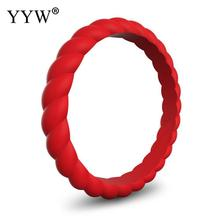 YYW Simple Punk Women Male Unisex Finger Ring Colorful Silicone Rubber Mid 4/5/6/7/8/9/10 Size Circle Full Midi Rings