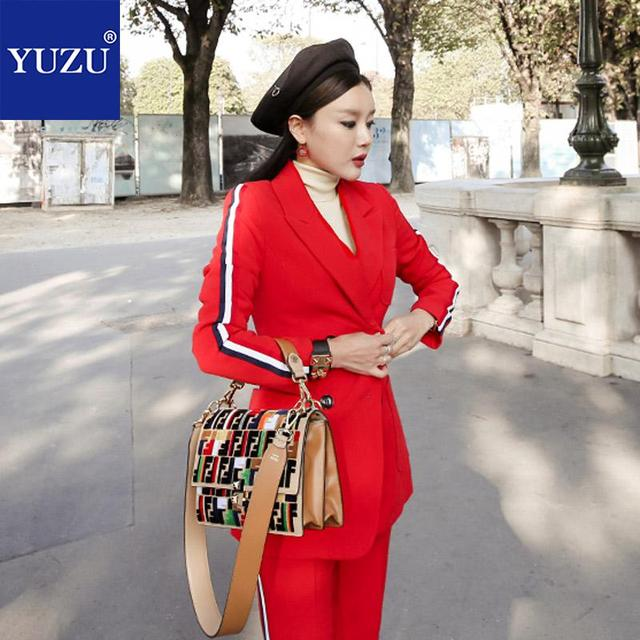 Blazer And Pants Set Fashion Red Double Breasted Notched Collar Office Business Suits Ladies 2018 Autumn Korean Two Piece Set