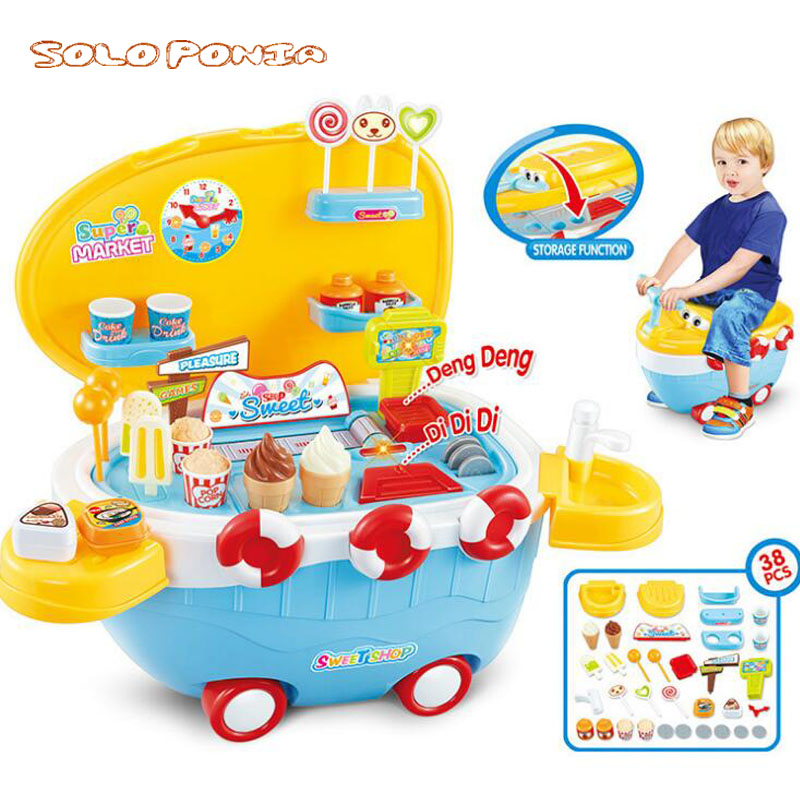 New 1 Set Pretend Play Toy Simulation Miniature Small Sweet Candy Ice Cream Cart Shop Supermarket Children Playing Toy 66844 Игрушка