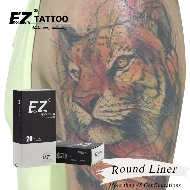 EZ Revolution Tattoo Needles Cartridge Needle Round Liners 10 0 30mm L taper 5 5mm for Cartridge machine and grips 20 pcs box in Tattoo Needles from Beauty Health