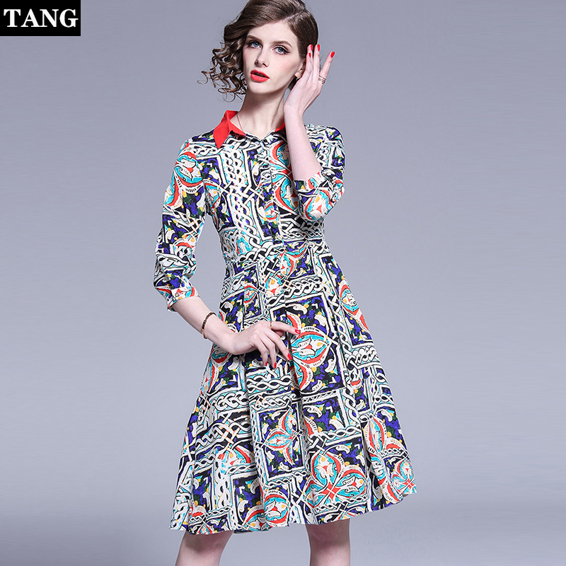 TANG Women Shirt Dresses Summer Runway Lapel Single Breasted Covered Button Floral Zebra Print Angels Office Dress Plus Size