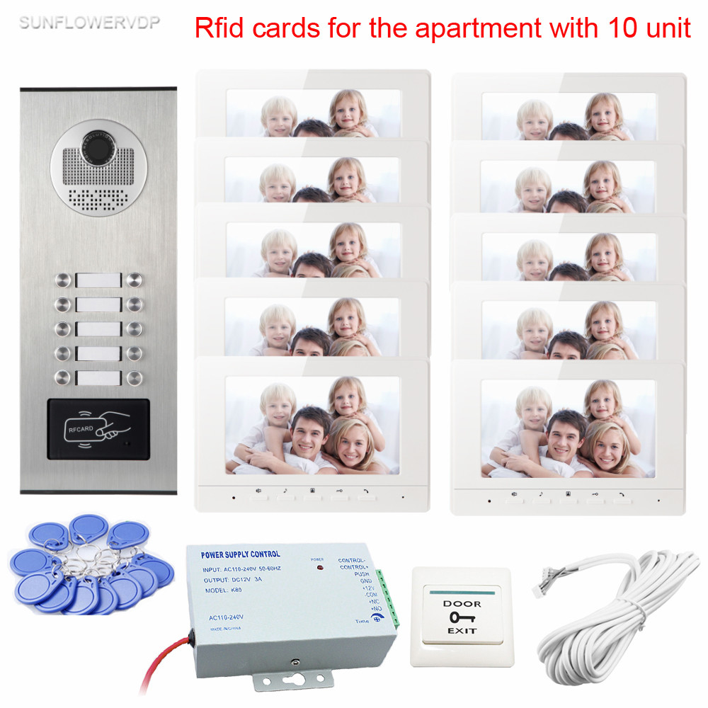 New Intercom Rfid Doorbell Doorphone With 10 Buttons Video Doorphone 7 Color 10 Monitors Lcd Video Intercom System For 10 Unit 7 inch video doorbell tft lcd hd screen wired video doorphone for villa one monitor with one metal outdoor unit night vision
