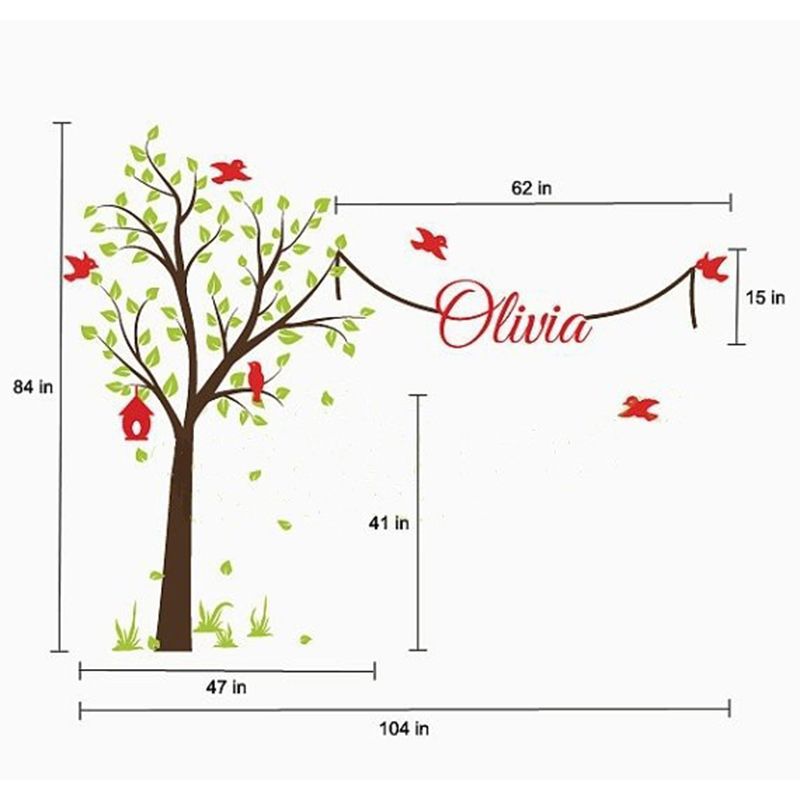 Tree Wall Stickers With Name Decal Elegant Garden Garden Tree Nursery - Տնային դեկոր - Լուսանկար 2