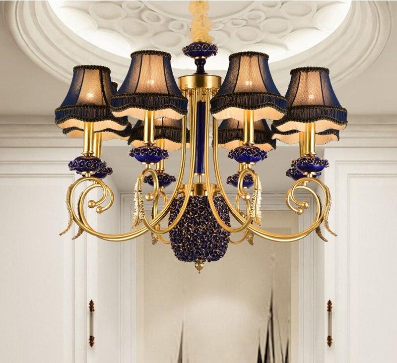 Phube éclairage de luxe bougie Lustre rose tissu Lustre bleu clair en céramique Lustre Villa cuivre Lustre lumière éclairage