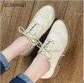 Qizhongqi 2017 Плюс размер 34-41 новая мода скольжения на женщин насосы высокого качества толщиной высокие каблуки туфли на платформе женщина