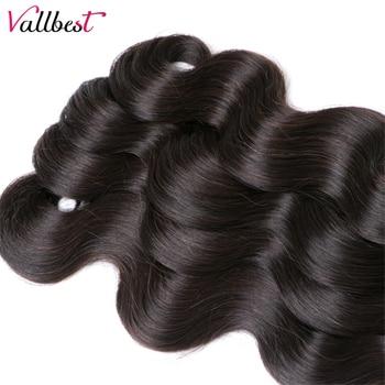 Vallbest Peruvian Body Wave Bundles 100% Remy Human Hair Extensions Natural Color 100G Machine Double Weft 3 Or 4 Bundle Deals 3