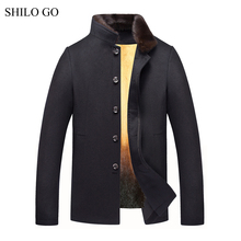 SHILO GO 4XL New Mens Winter Black Jacket Coats Thick Parkas Plus Size Real Mink Collar Mink Fur Lining Outwear Fur coat