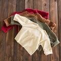 2017 Primavera Outono do Bebê Girs Meninos T-Shirt sólido bege marrom