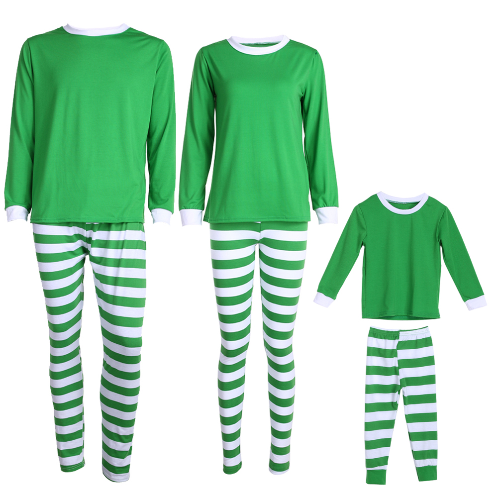 Men Women Family Matching Sleepwear Nightwear Pajamas Gree White Striped Sleepwear High Quality