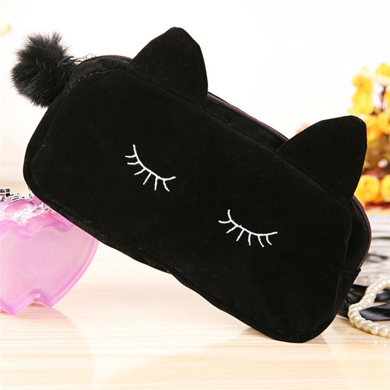 Make Up Bag Cartoon Cat Coin Storage Case Travel Makeup Flannel Pouch Cosmetic Bag Cases For Women Girls Toiletry Pouch
