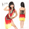 2017 Brand children latin dance dress red tassel manual nail bead Latin samba tango ballroom dancing clothing kids latin dress