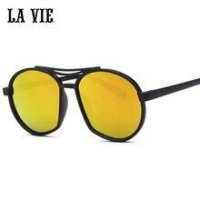 La vie marca 2016 new unisex adulto lente de marco ovalado de plástico gafas de sol Del Ojo Anti-glare UV400 de Las Gafas de Sol Unisex Lavie LV536