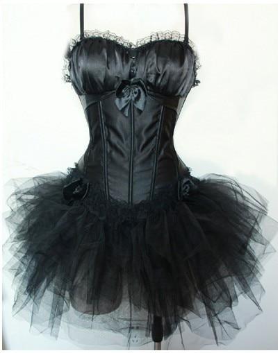 Vocole Gothic Burlesque Black Satin Corset Top & Tutu Skirt Outfit Women Halloween Costume Showgirl Party Dress Size S-XXL