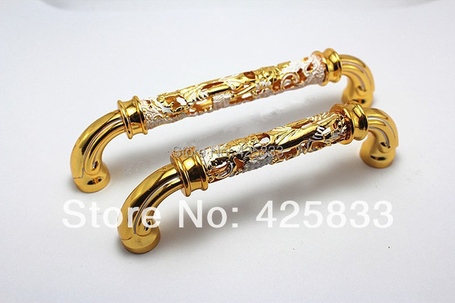 5pcs 96mm Golden Luxury Gold plating Door Handles Drawer Top Emerald ...