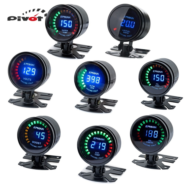 "PIVOT  Auto 2"" Digital LED EGT/Turbo Boost/Volt/ Water Temp/Oil Press/RPM/Air/Fuel/Oil Temp Gauge Meter With Sensor EP-GA50EXTT"
