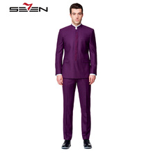 Seven7 Custom Made Men Dress Suits Blazer Mandarin Collar Stylish Suits Set Classic Fit Single Breasted Separate Jacket and Pant