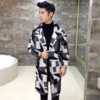 2017 New Spring Autumn High Quality Fashion Plaid Overcoat Male Long Trench Coats Men Winter Jacket