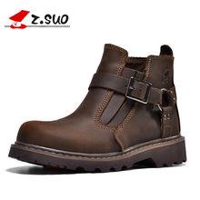 df03ebb4cf7 Z SUO marca 337 estilo clásico de los hombres botas de trabajo de moda  hebilla elástico Welt tobillo botas 100% de cuero de Caba.