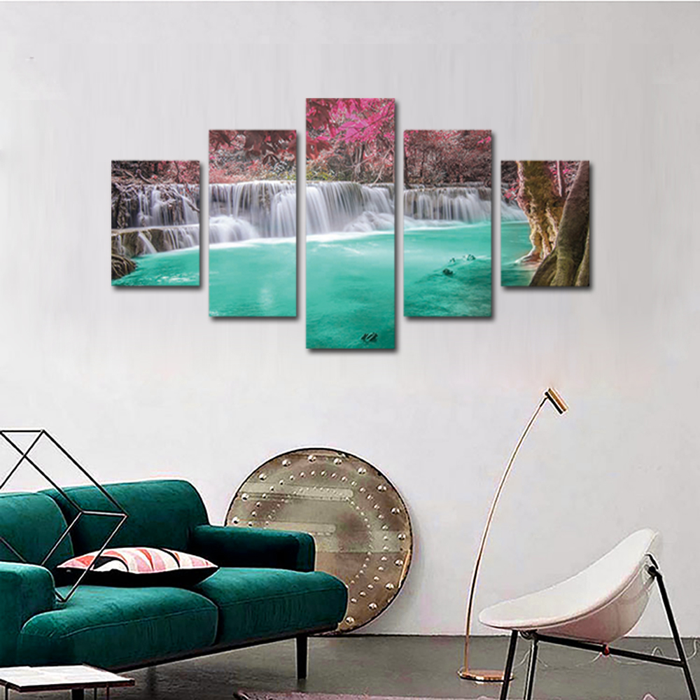 Unframed 5 panel HD Canvas Wall Art Giclee Painting Red Leaves Spring Landscape For Living Room Home Decor Unframed