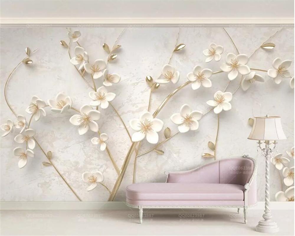 Beibehang 3d wallpaper White plum mural TV wall background wall living room bedroom TV background mural wallpaper for walls 3 d