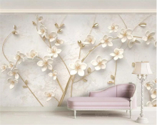 Beibehang 3d wallpaper White plum mural TV wall background wall living room bedroom TV background mural wallpaper for walls 3 d цена