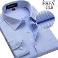 2017 Новый Дизайн Twill Хлопок Чистый Цвет Белый Бизнес Вечернее Платье рубашки Моды для Мужчин С Длинным Рукавом Социальный Рубашка Большой Размер 5XL 6XL