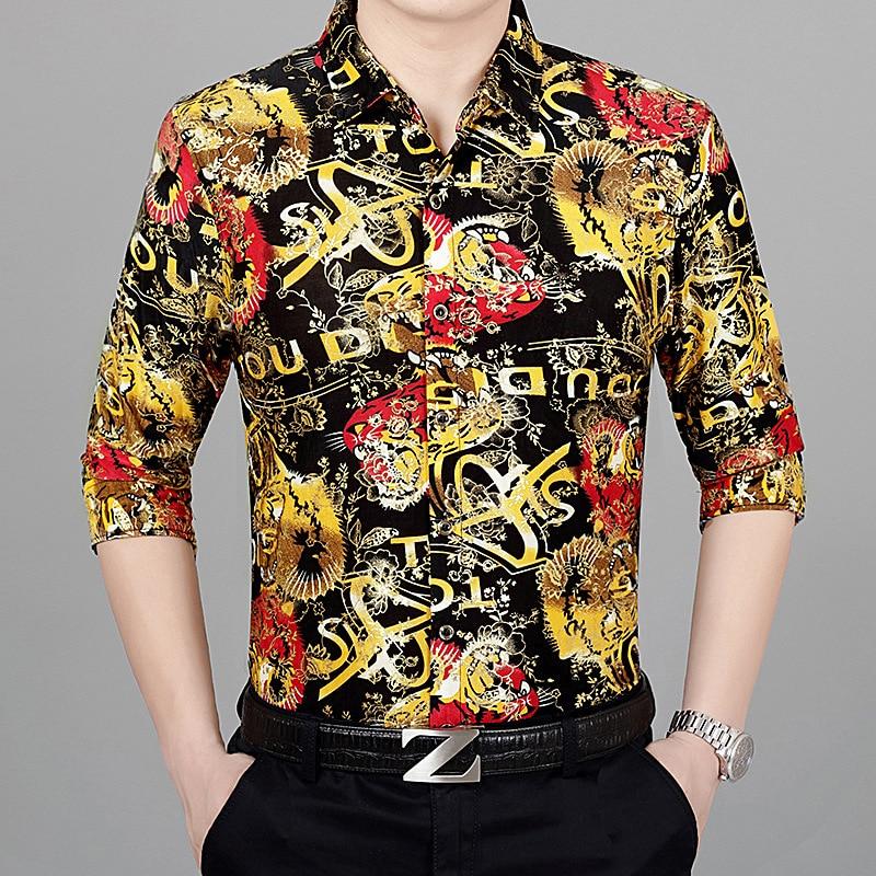Creative 3d letters bronzing print fashion hip hop long sleeve shirt Autumn 2018 New quality silk cotton luxury shirt men M XXXL