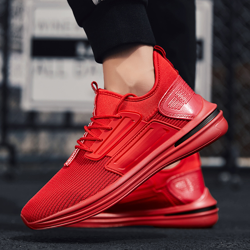 Hemmyi sneakers mens autumn 2018 breathable footwear lace-up zapatos casual hombre black red krasovki red off shoulder lace up elastic waistband casual co ords
