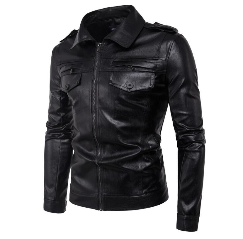Мужские кожаные пальто тонкий мотоциклетный пиджак мужские куртки одежда персонализированные jaqueta de couro stage street Brief chapter fashion - 2